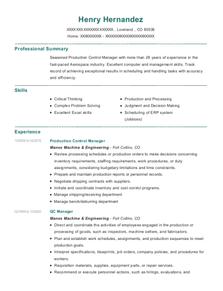 Production Control Manager resume example Colorado