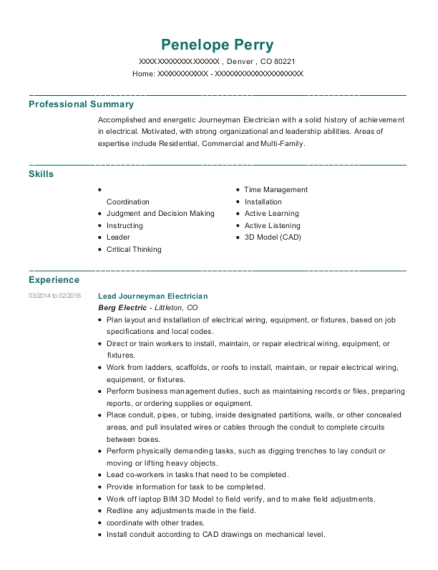 Lead Journeyman Electrician resume format Colorado