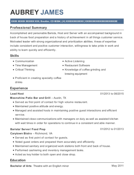 Lead Host resume format Colorado