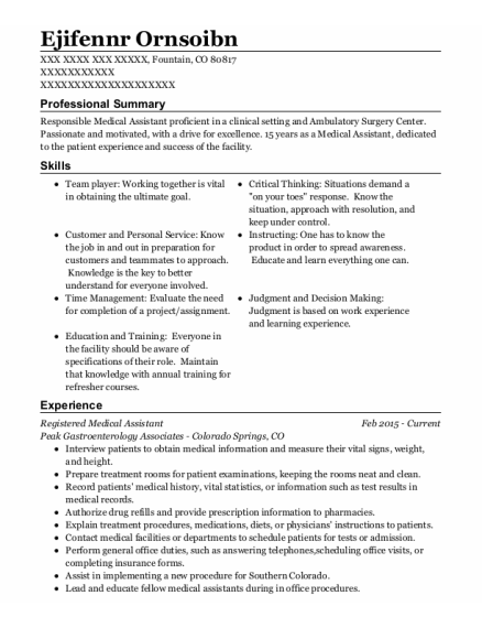 Registered Medical Assistant resume example Colorado