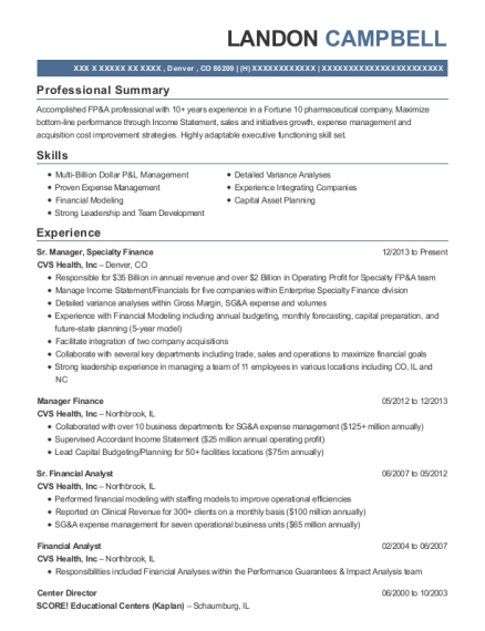 Sr Manager resume template Colorado