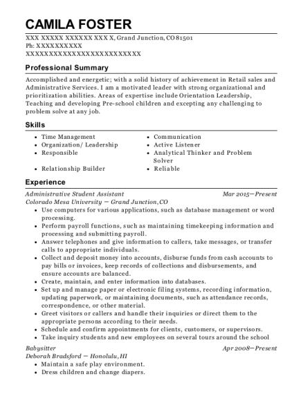 Administrative Student Assistant resume format Colorado