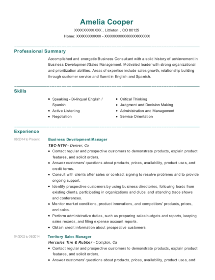 Business Development Manager resume sample Colorado