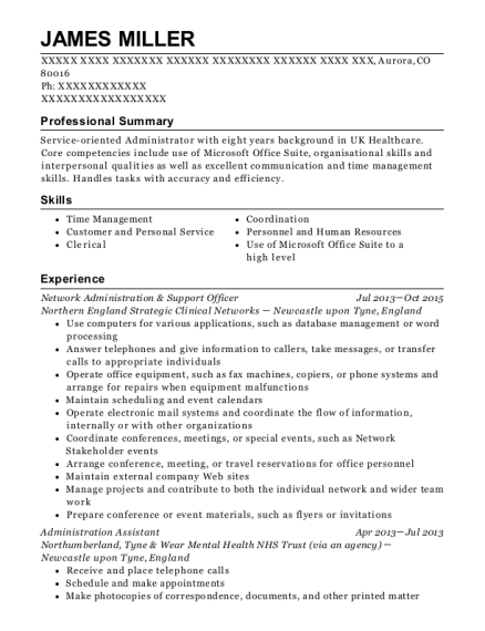 Network Administration & Support Officer resume example Colorado