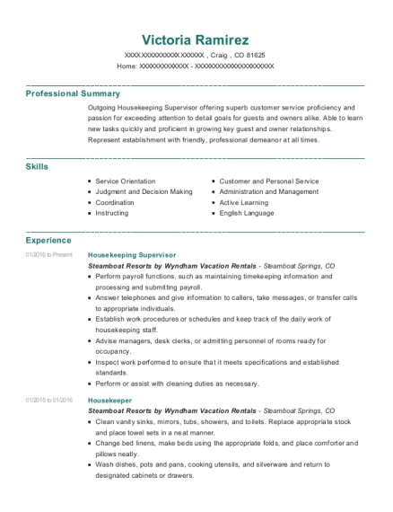 Housekeeping Supervisor resume example Colorado