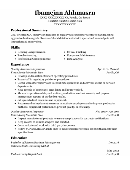 Quality Assurance Supervisor resume sample Colorado