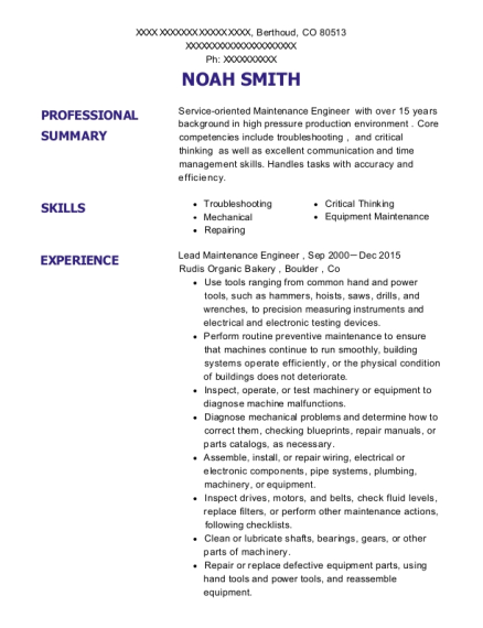 Lead Maintenance Engineer resume template Colorado