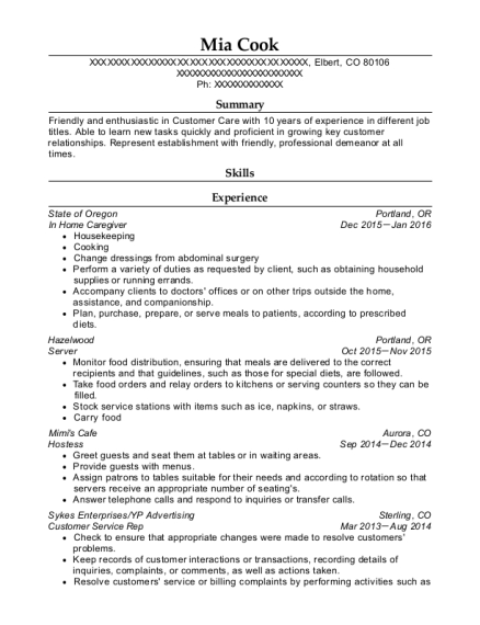 In Home Caregiver resume sample Colorado