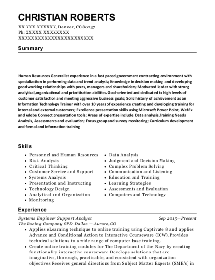 Systems Engineer Support Analyst resume sample Colorado