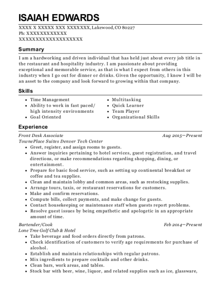 Front Desk Associate resume format Colorado