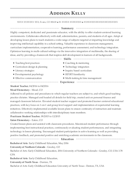Student Teacher resume format Colorado