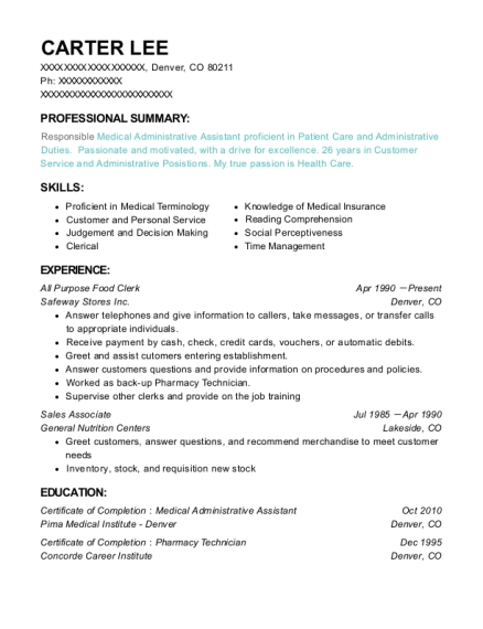All Purpose Food Clerk resume template Colorado