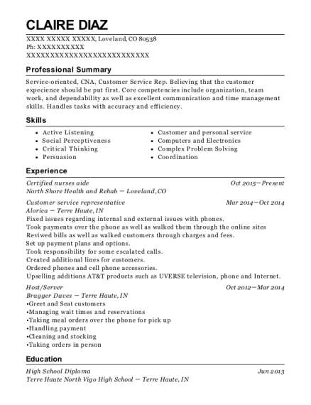 Certified nurses aide resume example Colorado