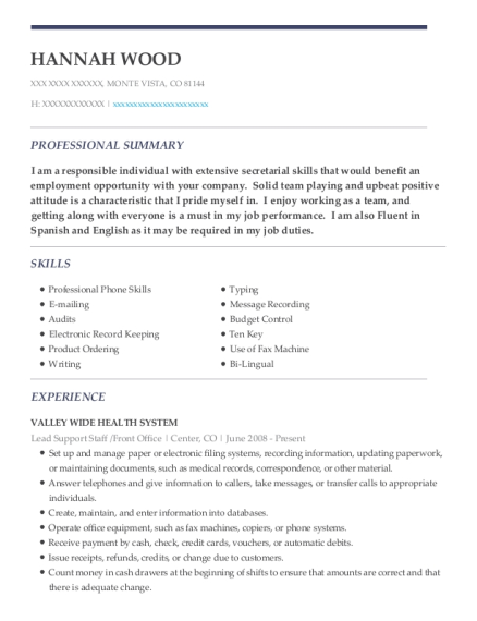 Lead Support Staff resume sample Colorado