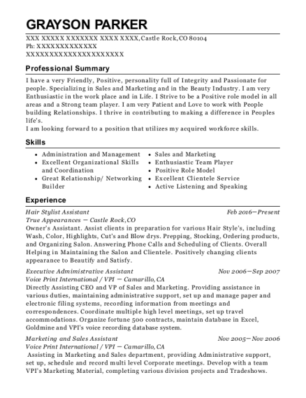 Hair Stylist Assistant resume format Colorado