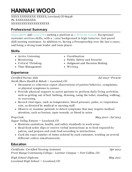 Certified Nurses Aide resume format Colorado