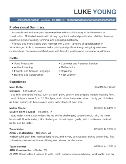 Meat Cutter resume example Colorado