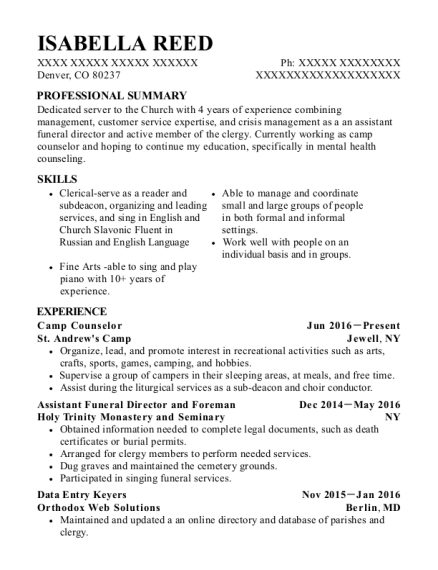Camp Counselor resume format Colorado