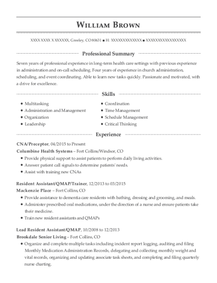 CNA resume template Colorado