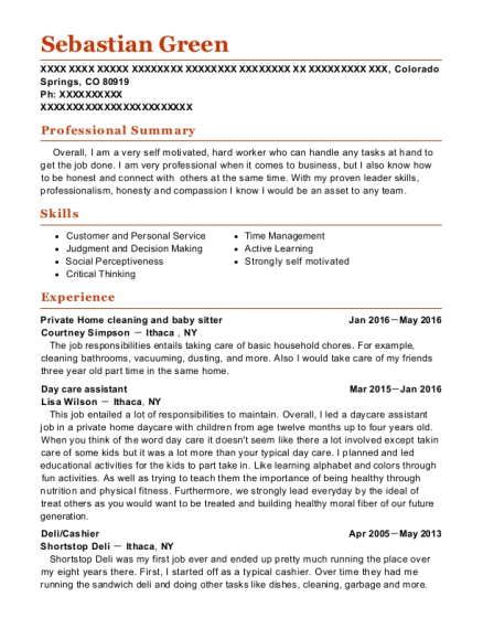 Private Home cleaning and baby sitter resume sample Colorado