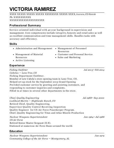 Fishing Outfitter resume sample Colorado