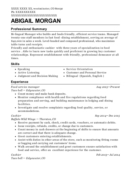 Food service manager resume format Colorado