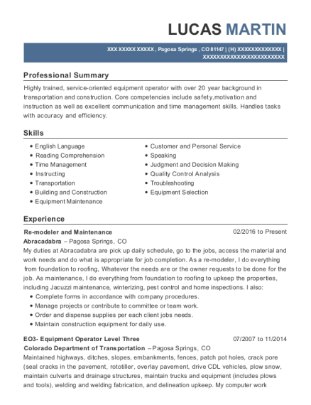 Re modeler and Maintenance resume example Colorado