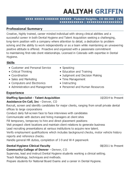 Staffing Specialist Talent Acquisition resume example Colorado