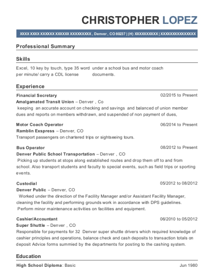 Financial Secretary resume sample Colorado