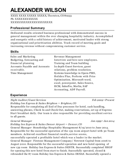 Night Auditor resume example Colorado