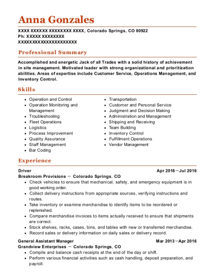 Driver resume format Colorado
