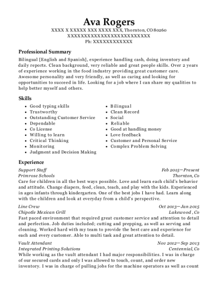 Support Staff resume format Colorado