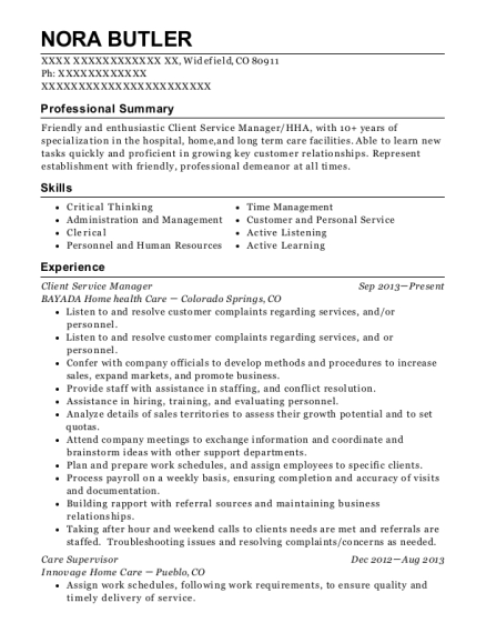 Client Service Manager resume format Colorado
