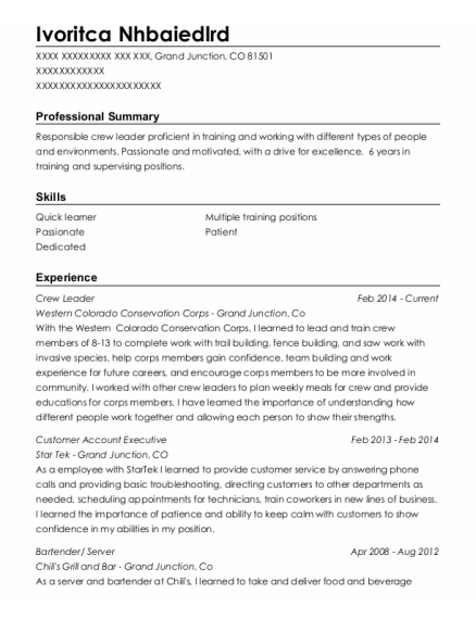 Crew Leader resume template Colorado