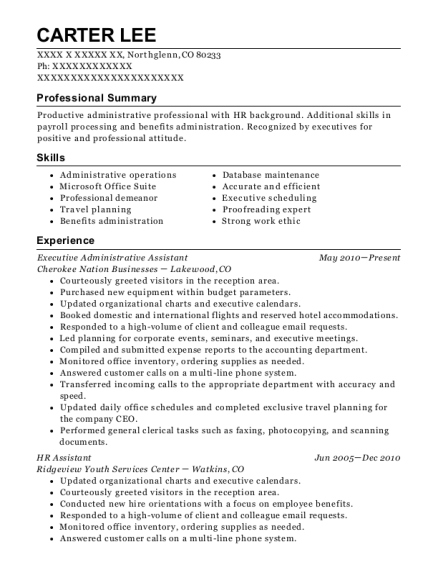 Executive Administrative Assistant resume template Colorado