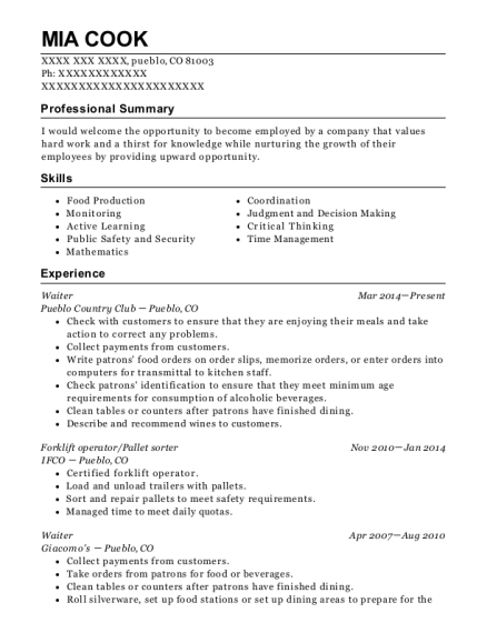Waiter resume format Colorado