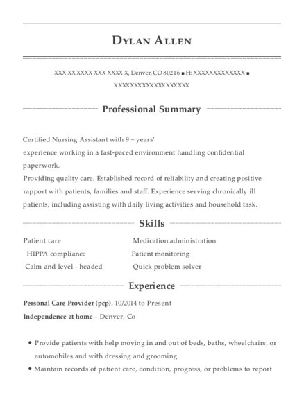Personal Care Provider resume sample Colorado