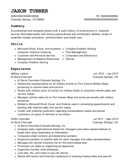 Military Liaison resume format Colorado