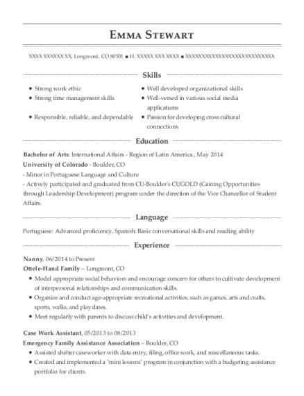 Nanny resume format Colorado