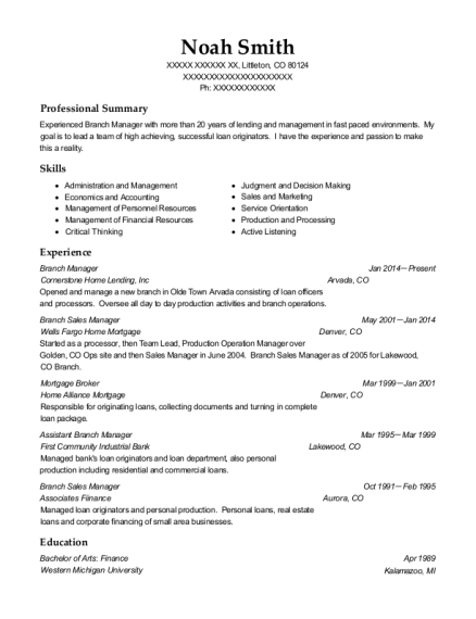 Branch Manager resume example Colorado