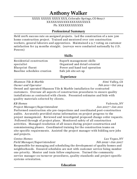 Owner and Operator resume template Colorado