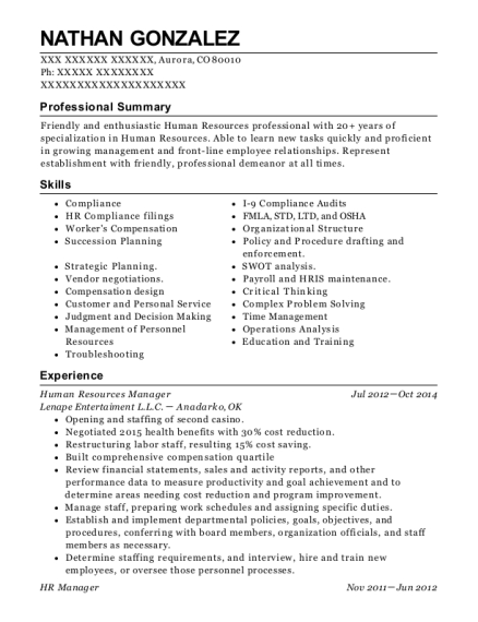 Human Resources Manager resume sample Colorado