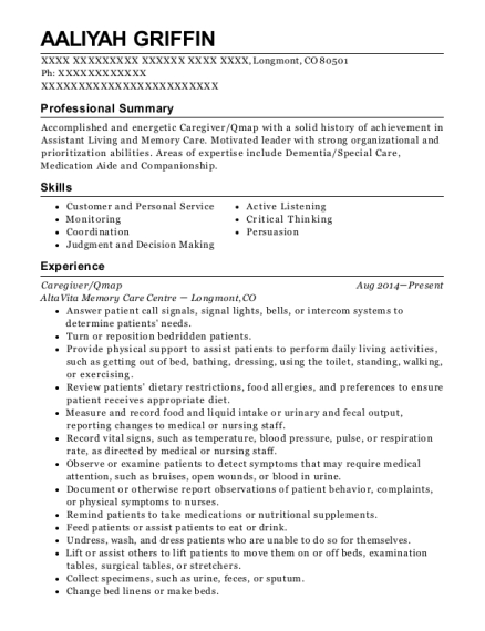 Caregiver resume format Colorado