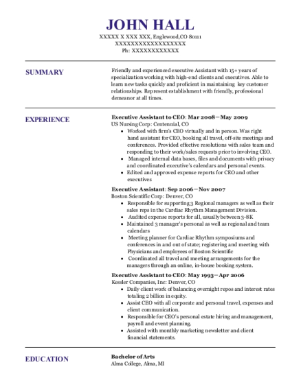Executive Assistant to CEO resume format Colorado