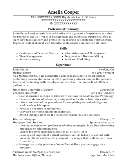 Medical Scribe resume sample Colorado