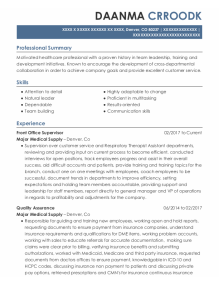 Front Office Supervisor resume example Colorado