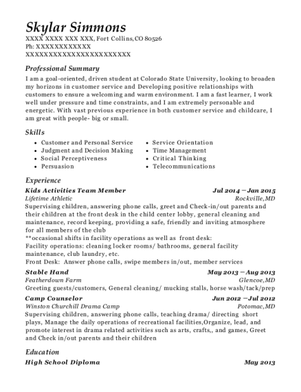 Kids Activities Team Member resume example Colorado
