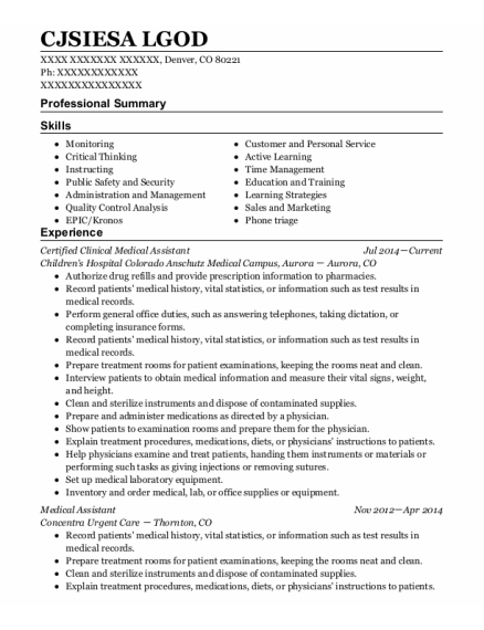 Certified Clinical Medical Assistant resume format Colorado