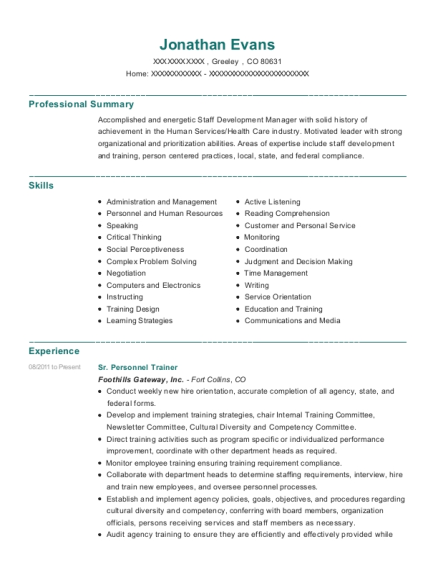 Sr Personnel Trainer resume format Colorado