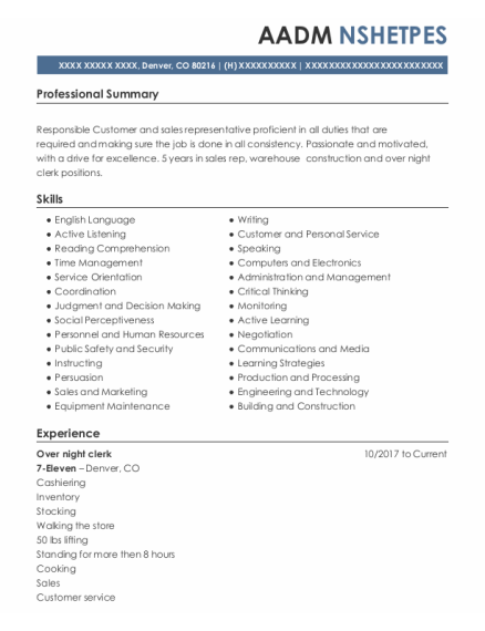 Sales Floor Representative resume format Colorado